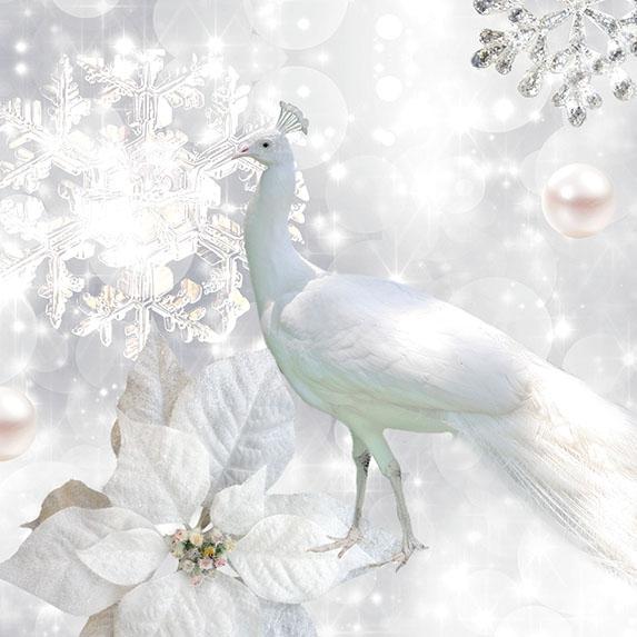 Servietten 33x33 cm - White Peacock