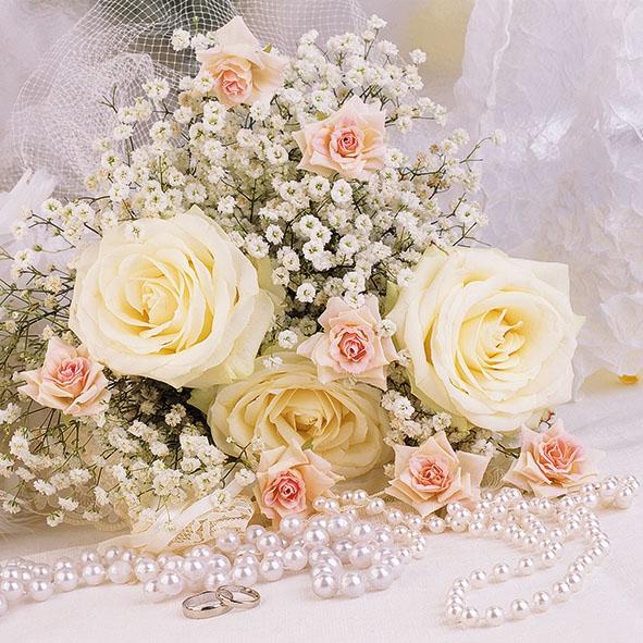Servietten 33x33 cm - Rosen und Perlen