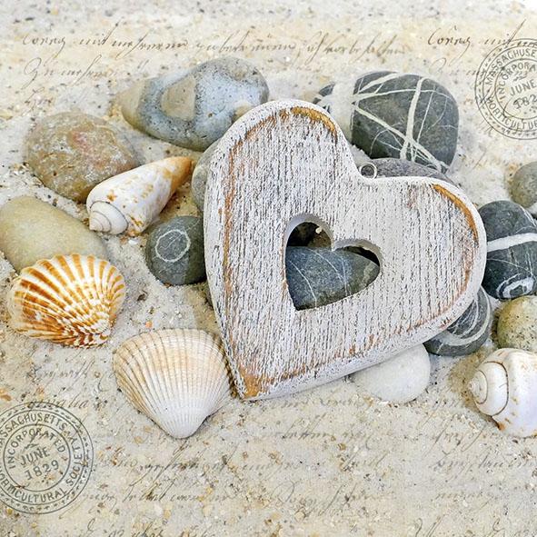 Servietten 33x33 cm - Herzen und Steine