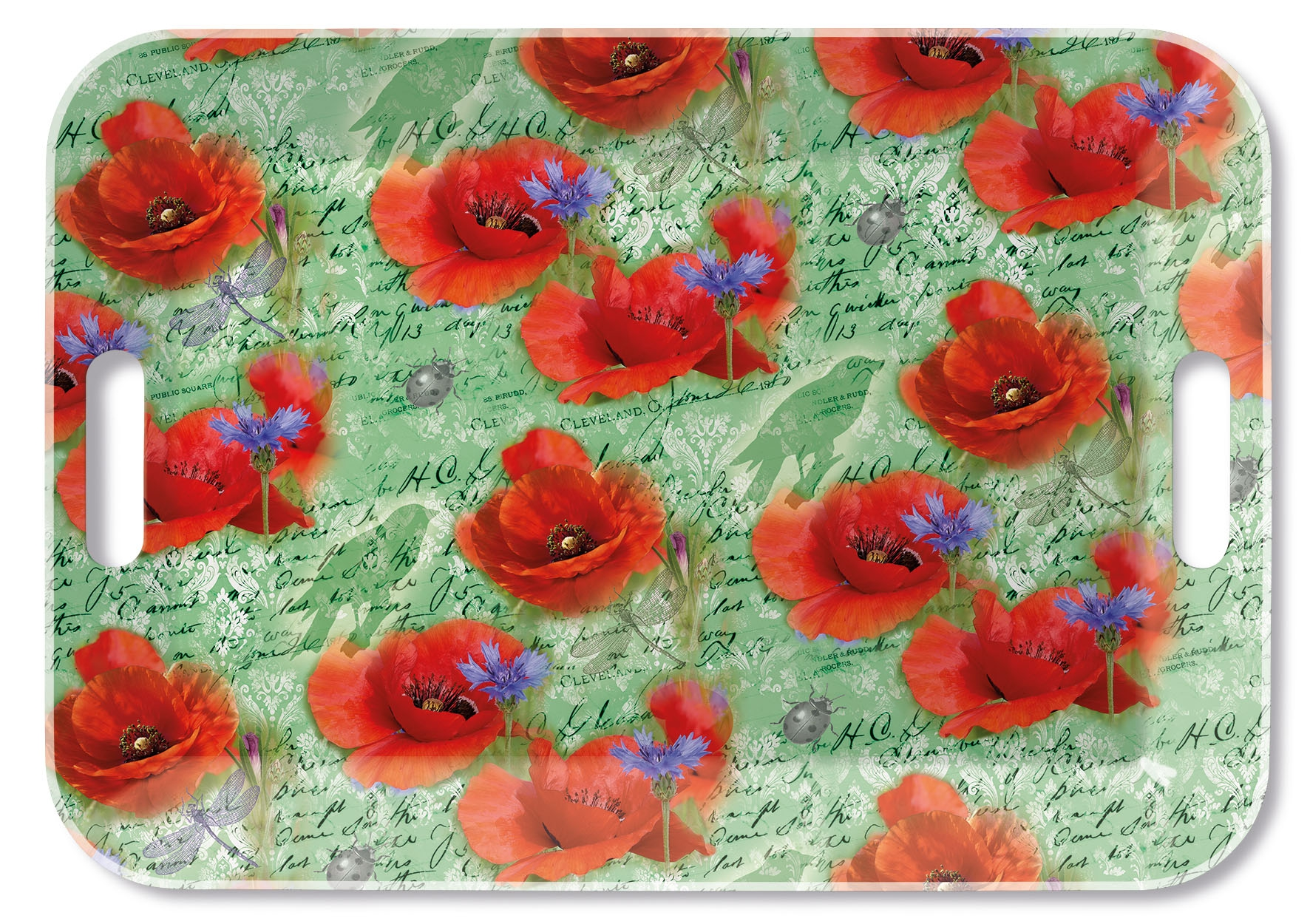 Tablett - Painted Poppies Green