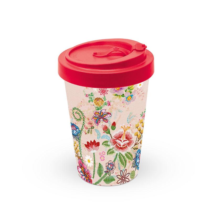 Bambusbecher To-Go - Stickerei Blumen Rose