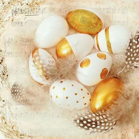 Servietten 25x25 cm - Goldene Eier