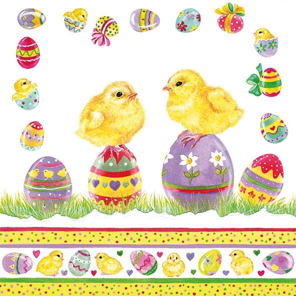 Servietten 33x33 cm - Küken auf Eiern