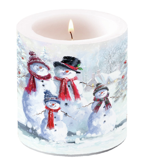 Dekorkerze klein -  Snowman With Hat