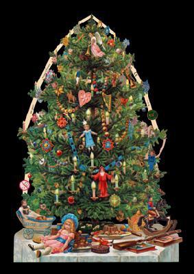 Glanzbilder mit Gold-Glimmer - Weihnachtsbaum