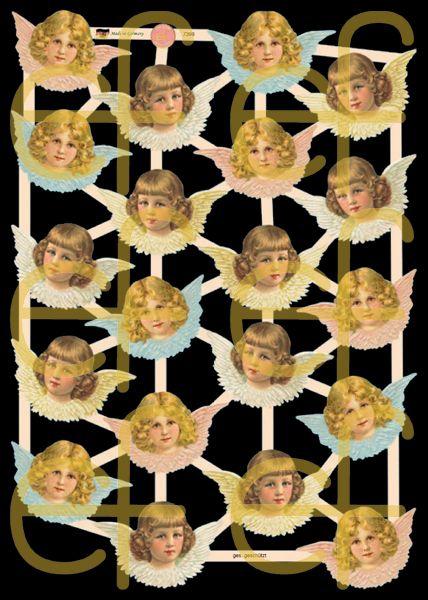 Glanzbilder mit Gold-Glimmer - 20 Engelköpfe