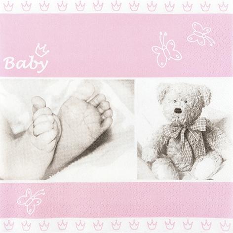 Servietten 33x33 cm - Baby rose