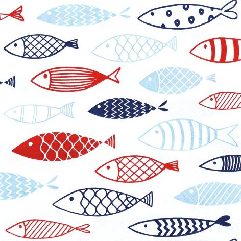 Servietten 33x33 cm - Fisch auf Tour