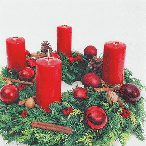 Servietten 33x33 cm - Advent Wreath