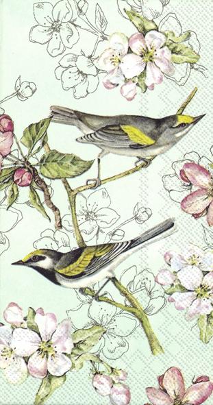 Buffet Servietten - BIRDS SYMPHONY green