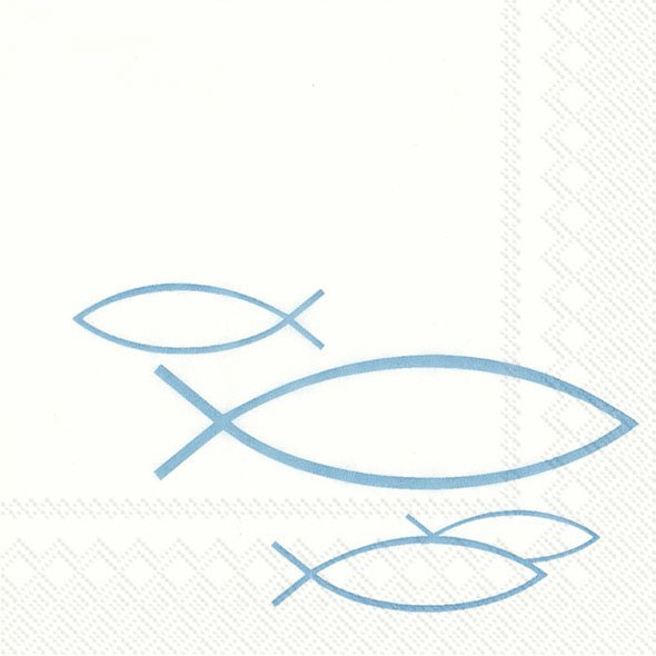 Servietten 25x25 cm - PEACEFUL FISH türkisfarbener Fisch
