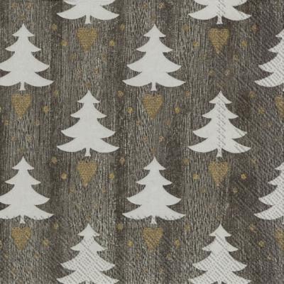 Servietten 33x33 cm - LITTLE LOVELY TREES grey