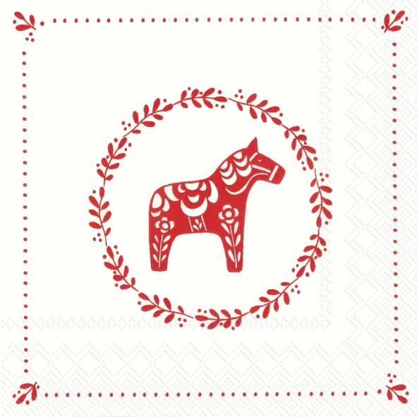 Servietten 33x33 cm - Süsses kleines Pferd weiß rot