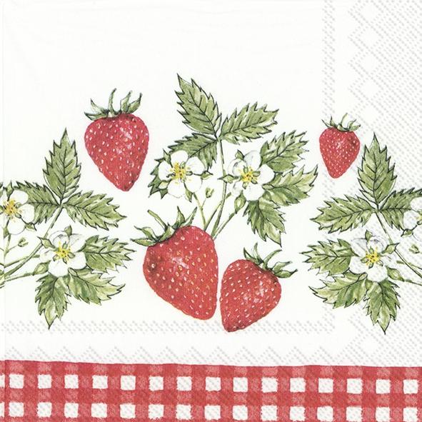 Servietten 33x33 cm - STRAWBERRIES IN LOVE