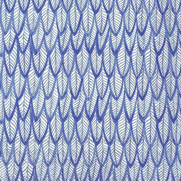 Servietten 33x33 cm - BLUE FEATHERS blue