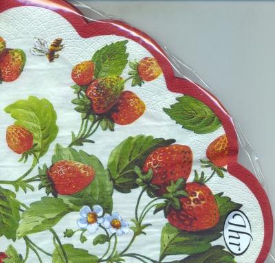 Servietten - Rund - Erdbeeren