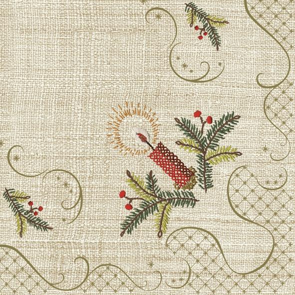 Servietten 33x33 cm - Klassische Weihnachtsstickerei