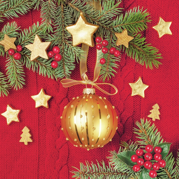 Servietten 33x33 cm - Goldkugel auf rotem Wollhintergrund