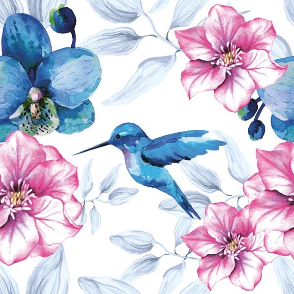 Servietten 33x33 cm - Blue Hummingbird