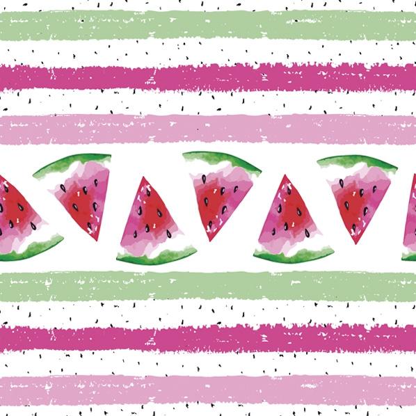 Servietten 33x33 cm - Wassermelone mit Streifen