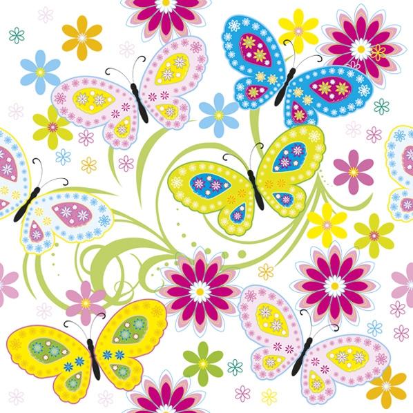 Servietten 33x33 cm - Grafikfarbe Schmetterlinge mit Blumen