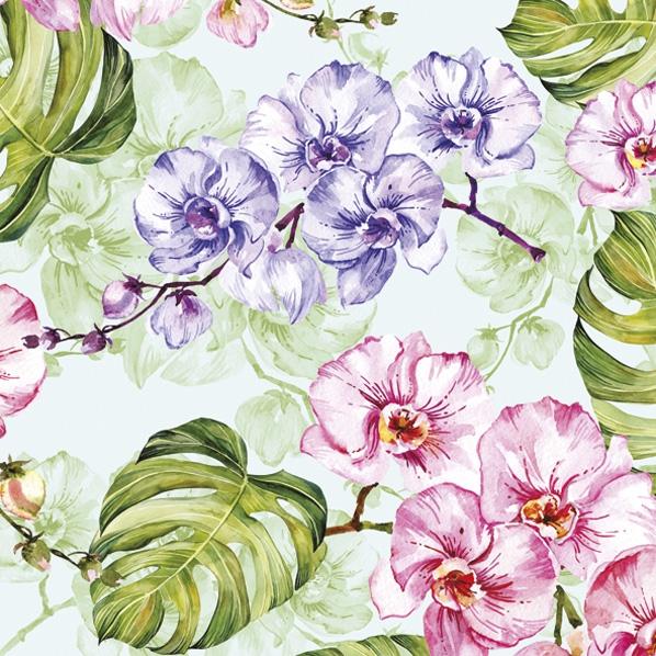 Servietten 33x33 cm - Wilde Orchidee mit Monstera-Blättern