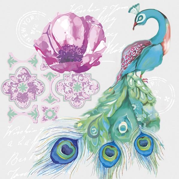 Servietten 33x33 cm - Aquarell-Collage mit Pfauenvogel