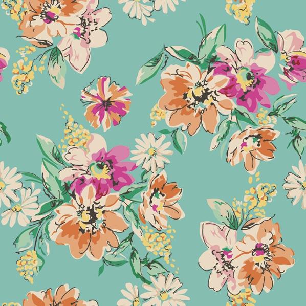 Servietten 33x33 cm - Blumenwiese Muster  Türkis