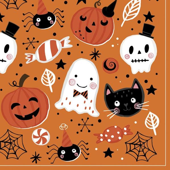 Servietten 33x33 cm - Orange Halloween Booo