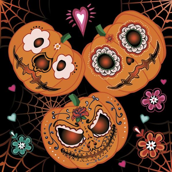 Servietten 33x33 cm - Mexican Pumpkins