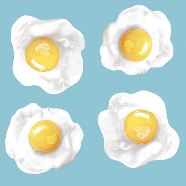 Servietten 33x33 cm - Fried Eggs Blue Pink