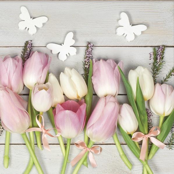 Servietten 33x33 cm - Weiße & Rosa Tulpen auf Holz