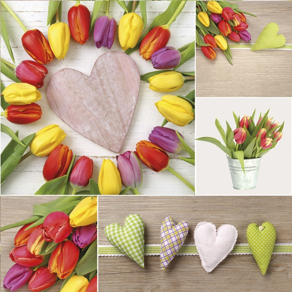 Servietten 33x33 cm - Bunte Tulpen mit Herzen