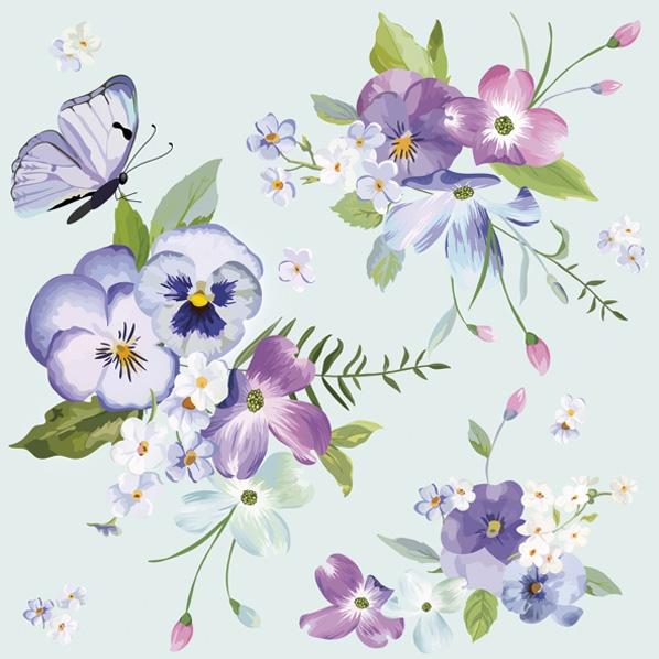 Servietten 33x33 cm - Frühlingsblumen auf blauem Hintergrund