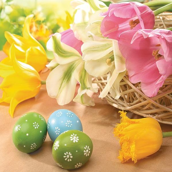 Servietten 33x33 cm - Colourful Tulips & Eggs