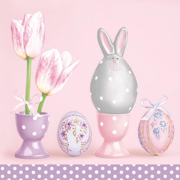 Servietten 33x33 cm - Grey Rabbit among Eggs and Tulips