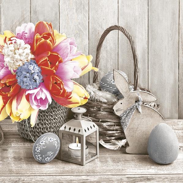 Servietten 33x33 cm - Natural Easter Composition