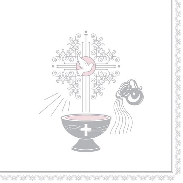 Servietten 33x33 cm - Taufmotiv Silber und Pink