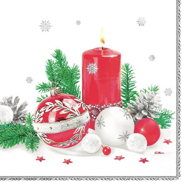 Servietten 33x33 cm - Weihnachtskerze