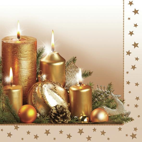 Servietten 33x33 cm - Goldene Weihnachtskerzen