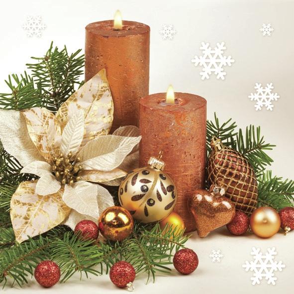 Servietten 33x33 cm - Gold Weihnachtsstern & Zwei Kerzen