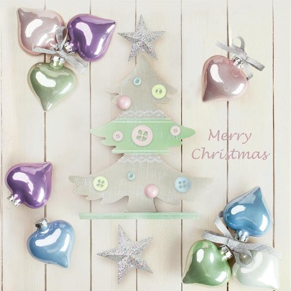 Servietten 33x33 cm - Pastellkugeln & Weihnachtsbaum