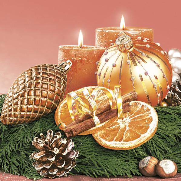 Servietten 33x33 cm - Gold Traditionelle Weihnachtskomposition