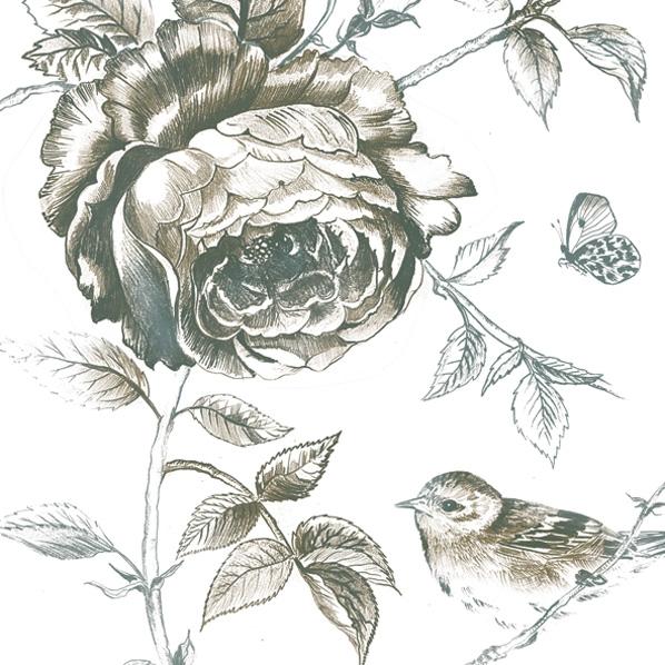Servietten 33x33 cm - Monochromatische Rose