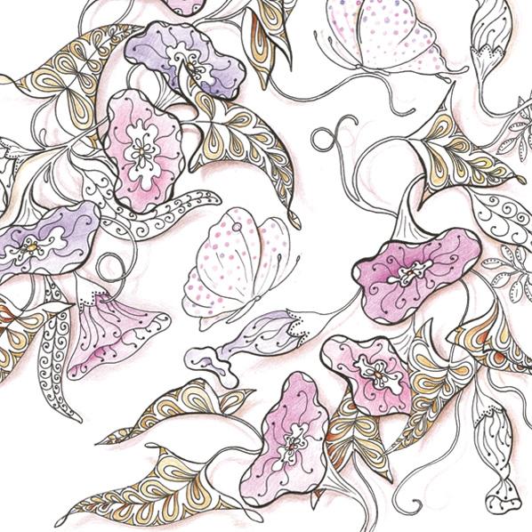 Servietten 33x33 cm - Morning Glory Zeichnung