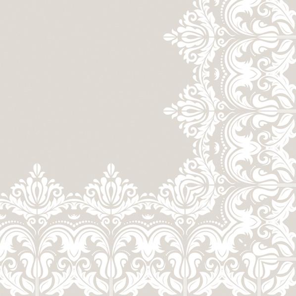 Servietten 33x33 cm - Ornament Rand Beige