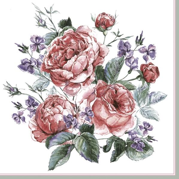 Servietten 33x33 cm - Englische bemalte Rosen