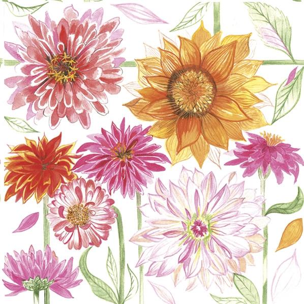 Servietten 33x33 cm - Gezeichnete Gartenblumen