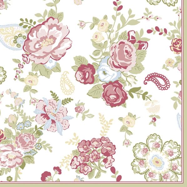 Servietten 33x33 cm - Tapete mit Rosen Weiß