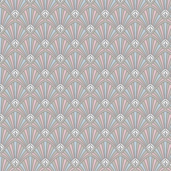 Servietten 33x33 cm - Art Deco Muster Pastellfarben